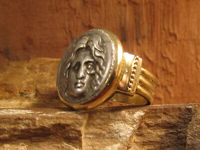 Authentic Ancient Greek Silver HELIOS of Rhodes in 14K Solid Gold Ring!