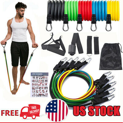 NEW Fitness 11 PCS Set  Resistance Bands Home Gym Exercise Tube Bands Training