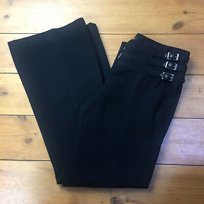 Vintage Ted Baker - Black Wool/Cotton Tailored Buckle Design Trousers Size 2 10