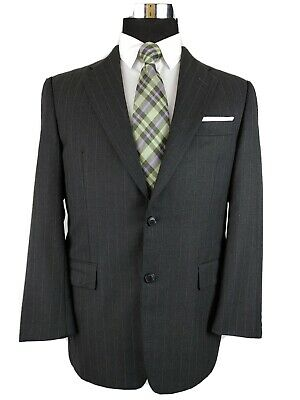 Hickey Freeman Mens Charcoal Gray Pinstripe Wool 2Button 2pc Suit 38S 34x27