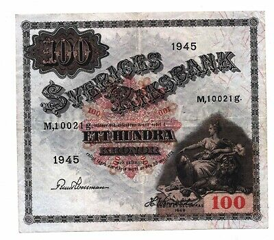 Sweden 100 Kronor 1945  Paper Currency Banknote Scarce Date