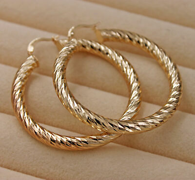 18K Gold Filled - 2.1'' Big Chic Hollow Circle Bling Bling Hoop Lady Earrings DS