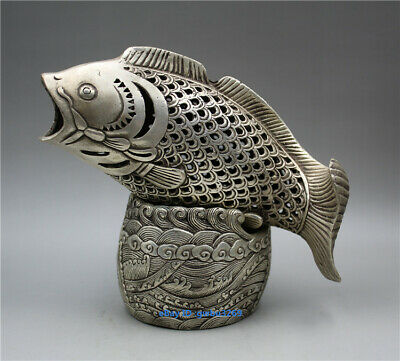collect China old Tibetan silver hand-carved Fish Statue hollow Incense burner Z