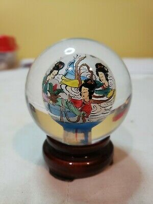Fine Vintage Chinese  reverse paint signed females playing round glass ball