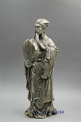 Chinese old Tibet silver handwork carved historical figure Zhuge Liang Statue Z0