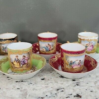 Sevres Style Hand Painted Courting Couples Demitasse Cup and Saucers heavy gold