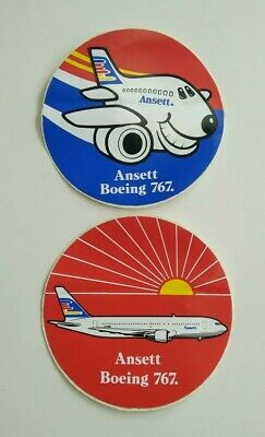 ANSETT AIRLINES AUSTRALIA BOEING 767 Advertising Stickers  x 2 Different