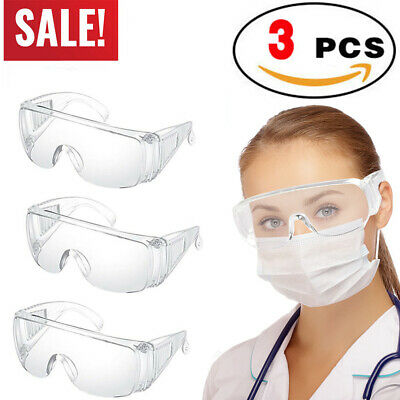 3pcs Clear Safety Goggles Glasses Anti Fog Lens Work Lab Protective Chemical