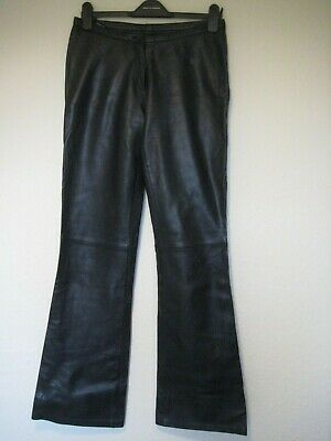Dimensions black genuine leather slightly flared trousers size 30