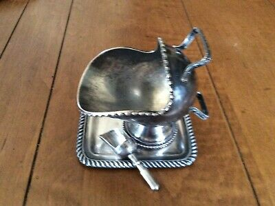 Antique silver plated Sugar Scuttle nut/condiment w/tray and spoon England