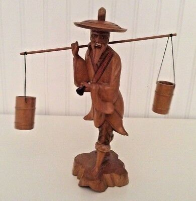 Vintage hand carved wooden statue old Chinese man carrying water buckets & pipe