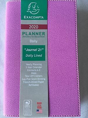 Exacompta 2020 Journal Daily Calendar. Lilac Leatherette
