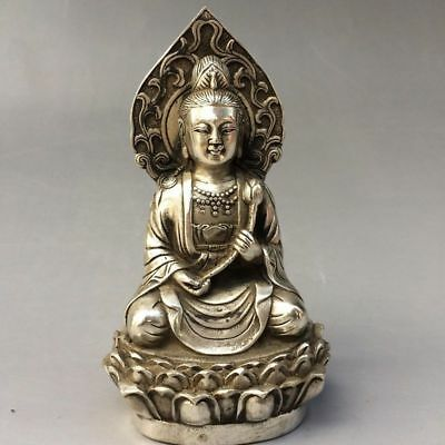 Collection Chinese old Tibet silver Statue Bodhisattva Guanyin Buddha Z01