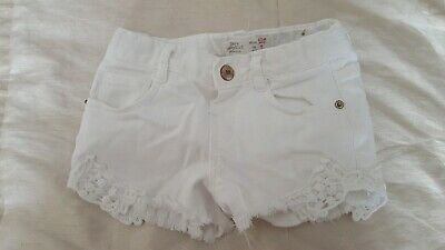 Zara Baby Girls Distressed Lace-up Denim White Shorts Age 12-18 Months