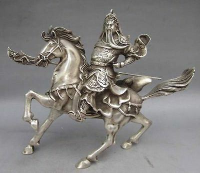 Chinese Collectablen old Tibet Silver Warrior God Guan Yu & Horse Statue Z01