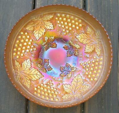 """Northwood  """"Grape & Cable""""  Marigold Carnival Glass Large Ice Cream Bowl"""