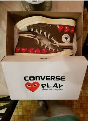 Authentic Comme Des Garcons CDG Olive Green play Converse Hearts Sneakers Sz 11