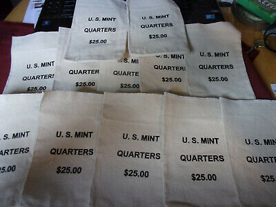 LOT of MINT $25 CANVAS QUARTER BAGS NO COINS U.S 5