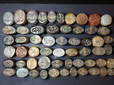 SALE Ancient sasanian to medieval rare 57 agate intaglio seal beads lot .SALE