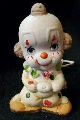 Baby Clown Nightlight White Ceramic/Bisque Circus Outfit - Vintage - Works!