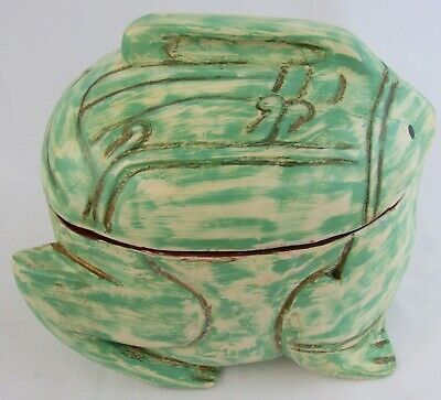 Whimsical Large Wooden Hand Carved/Painted Frog with Lid - Decor or Garden Art