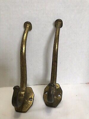 """Two Large Vintage Solid Brass Double Hooks 7"""" For Coat Hat Towel"""