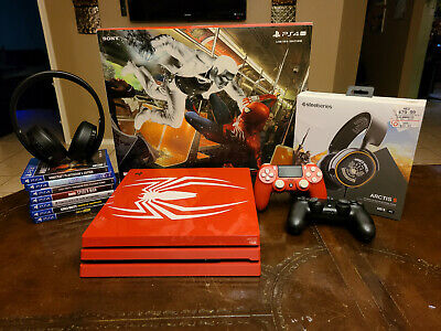 Sony PlayStation Ps4 Pro 1TB Limited Edition Spider-Man Console Bundle