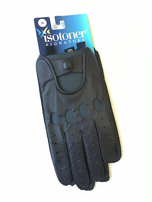 $55 NWT Isotoner Signature Men's Brown Leather Driver Driving Gloves Size XL