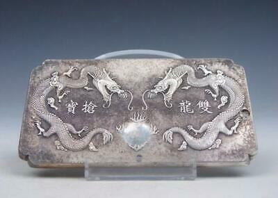 Tibetan Silver Paperweight Double Dragons & Fireball Carved /T 02