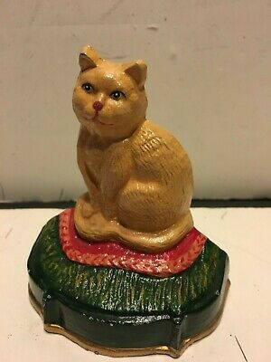 Painted CAST IRON CAT KITTY Door Stop, Paper Weight  4""