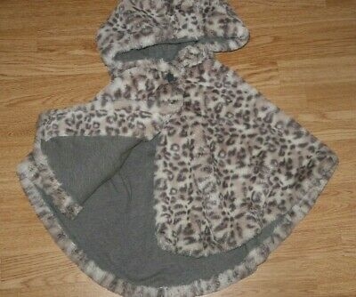 Girls Kids Fur Fluffy Poncho Cape & Hood Leopard Animal Print Next Age 3-4 Years