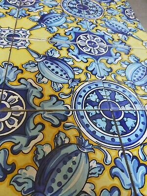 Vintage ceramic tiles - yellow and  blue - 24 available