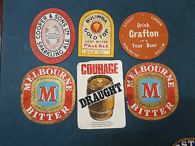 Group Of Old Beer Labels Boags Cooper Bulimba Melbourne Carlton & Courage