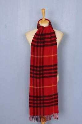 BURBERRY Scarf Red Check Lambswool Authentic
