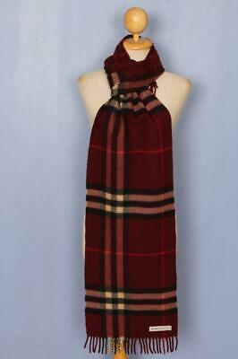BURBERRY Scarf Dark Red Check Cashmere Authentic