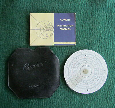 Concise Circular Slide Rule With Slip Cover And Manual No. 270N