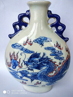 Chinese Exquisite Handmade Porcelain Pot Pen Dragon container