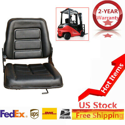 US New Forklift Seat Bobcat Tractor Excavator Machinery Adjustable Leather Chair