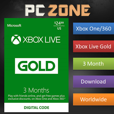 Xbox Live 3 Month Gold Membership For Microsoft Xbox 360 / Xbox One Instant
