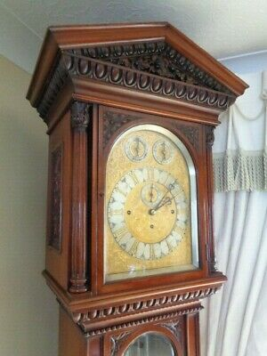 Antique Musical Longcase Clock Victorian Mahogany Grandfather Clock