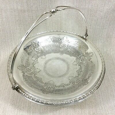 Antique Silver Plate Fruit Basket Table Centerpiece Bowl Ornate Chased Engraving