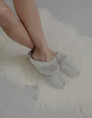 The White Company Suede Mule Slippers. Pale Grey. Size 3-4.