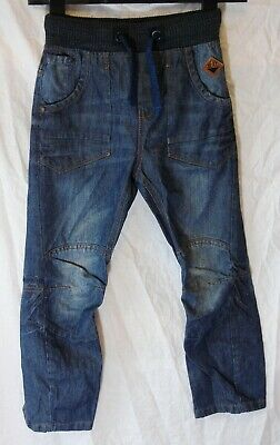 Boys Next Blue Whiskered Denim Panelled Ribbed Waist Utility Jeans Age 7 Years