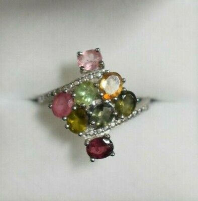 Tourmaline Sterling Silver Ring ( Size 9.25 )