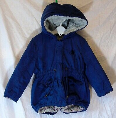Girls Matalan Blue Furry Fleece Lined Warm Soft Hooded Parka Coat Age 2-3 Years