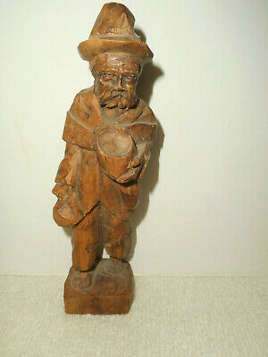 Vintage Hand Carved Chipped Wood Folk Art Bearded Man Carrying Bag & Bowl