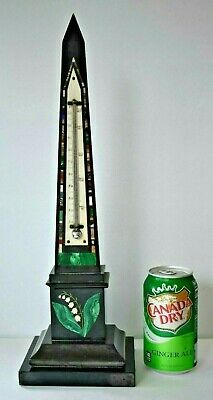 "17"" Antique Victorian Grand Tour Intarsia Pietra Dura Inlay OBELISK Thermometer"