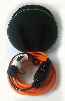TESLA Model S EV Electric Charger Type 2 To UK Plug 10 Metre Cable +Carry Case.