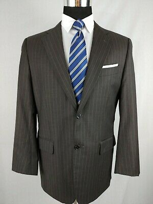 Joseph Abboud Chocolate Brown Pinstriped 2 Piece 2 Button Mens Suit 40/41R 36x32
