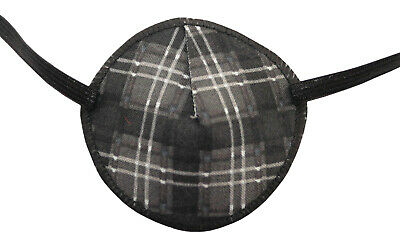 Grey Tartan - Medical Adult Eye Patch, Soft and Washable.  Sold to the NHS
